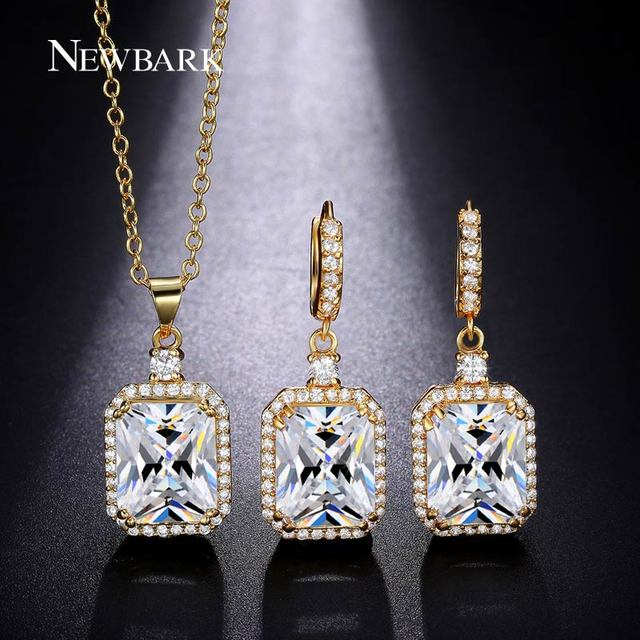 Newbark Square White Cubic Zircon Necklace Earring Sets Gold Color Pendant Earrings Set Jewelry
