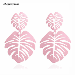 Unique Double Leaf Big Earrings Net Red Star With The Trend Of Pink Long Earrings Jewelry Accessories Wholesale Wedding Earrings