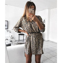 2019 Summer New Fashion Women's Party Club Costume Leopard Snake Print Loose Dress Long Sleeve Vintage Clubwear Mini Dress