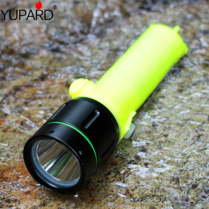 yupard white yellow light XM-L2 led T6 3W LED Flashlight waterproof underwater Torch diving diver 40m lamp battery+charger yupard diving diver 50m waterproof underwater flashlight xm l2 t6 led torch white yellow light lamp torch 18650 battery charger