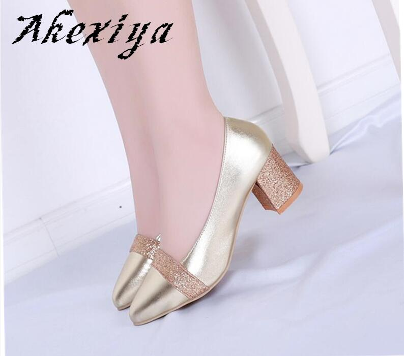 Akexiya High heels women small leather thick heel shoes silver pointed five toe shallow mouth boat female