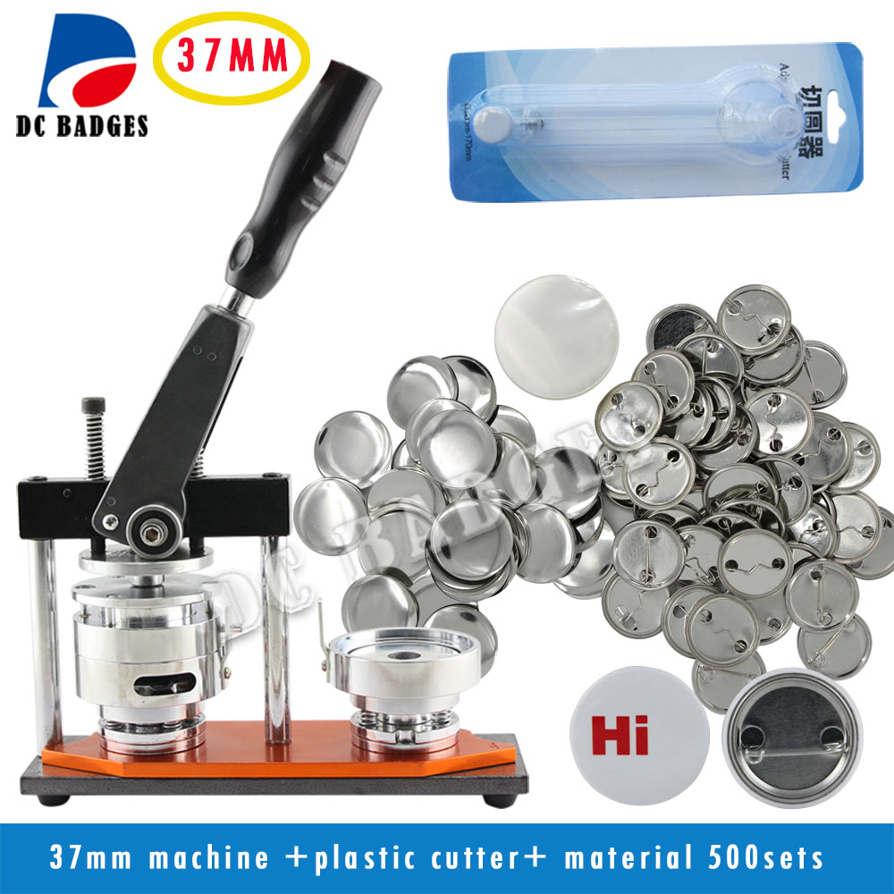 New High Quallity Factory Directly Selling 1 1/2 37mm Badge Button Maker Machine +Circle Cutter+500 Sets Metal Pinback Supplies