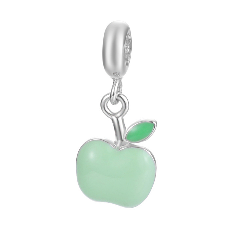 European Style Handmade Fruit Green Apple Design Pendant Jewelry For Bracelet Or Necklace S925 Sterling Silver Charm