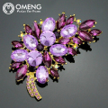 OMENG  Korean High-grade Brooch Crystal Brooch Scarf Buckle Brooch Bauhinia  OXZ017