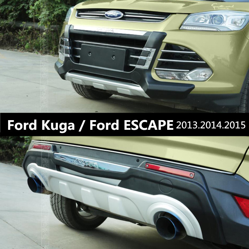 Auto BUMPER GUARD For Ford Kuga ESCAPE 2013.2014.2015 BUMPER Plate High Quality Brand New ABS Front+Rear Car Accessories