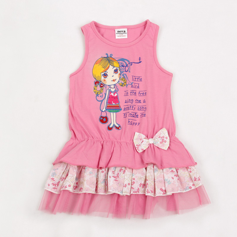 9e29661c13d0 kid dresses for girls 2 6 years fashion pink baby girls summer ...