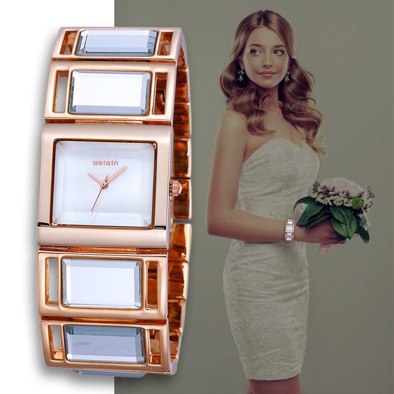 WEIQIN Luxe Hardlex Or Miroir Bracelet de Femmes Bracelet Montres Coloré Shell Cadran Carré Montre De Mode Lady Relogio Feminino