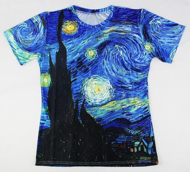 2016 Nova Chegada 3D Impressão Clássico Óleo de Vincent Van Gogh Noite estrelada Vintage Estilo Camisetas de Verão Tees Casual Tops Mulheres homens