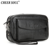 Genuine Leather Men Clutch Bag Fashion Long Money Wallet Male Cell Phone Pouch W