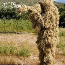 Field Grass Tactical Ghillie Suit Camouflage Sniper Hunting Airsoft CS Ghilly Suit Set Includes Jacket Pants & Rifle Wrap