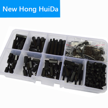 M2.5 Male Nylon Hex Standoff Plastic Thread PCB Motherboard Spacer Assortment Kit Black Quadcopter Drone Computer Circuit Board цена