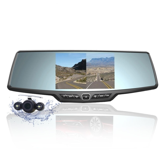 Ecartion Car Camera Recorder Full HD 1080p Rearview Mirror Camera LCD Night Vision Car DVR Dual Lens Parking Mirror DVR Dash Cam