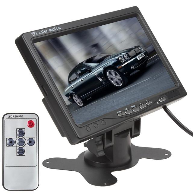 """Preto Monitor Do Carro 7 """"TFT LCD Car Rear View Camera Monitor 2CH Suporte de Entrada + Controle Remoto IR Para DVD VCD STB com Suporte"""