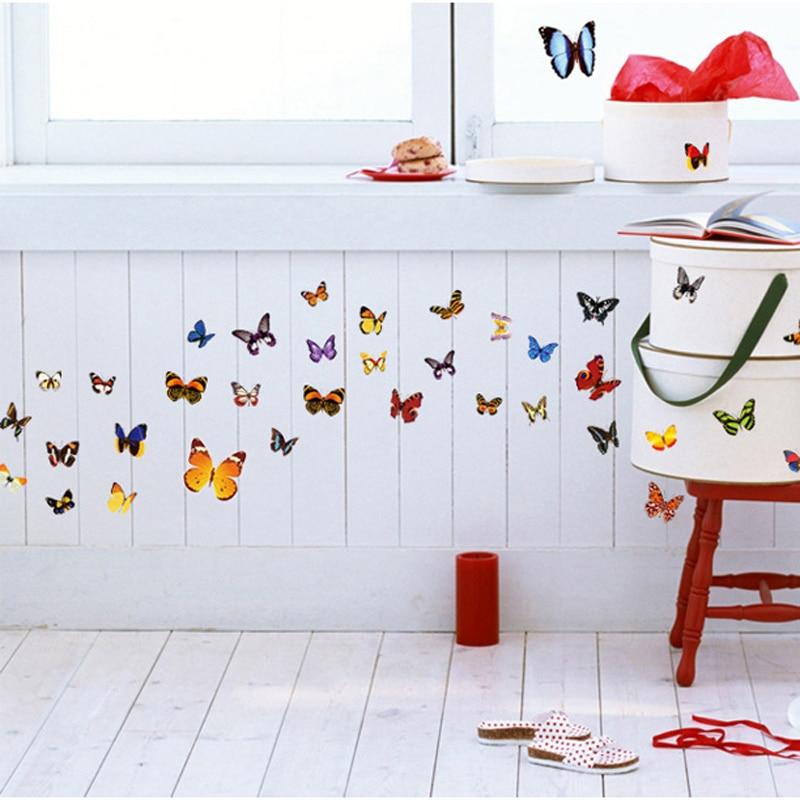 Colored 81 Butterflies 3D Wall Sticker DIY Wall Art Decals Living Room Romantic Flower Butterfly Stickers Home Decor Wallpaper