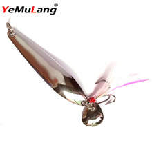 YeMuLang Brand 1 PCS Metal Sequins Fishing Lure With Feather Treble Hook Spoon Lure Noise Gold& Silver Hard Baits Pesca Lure