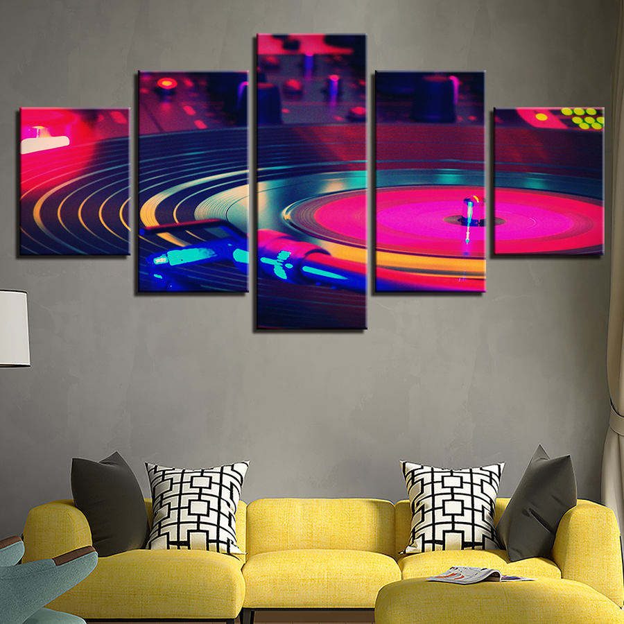 Canvas Paintings Home Decor Wall Art 5 Pieces DJ Music Instrument Turntables Pictures HD Prints Dj Turn Table Posters Framework
