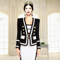 2019 European American Spring New Explosion Black-And-White Coloured V-Collar Metal Button Short Suit Women Blazers And Jackets
