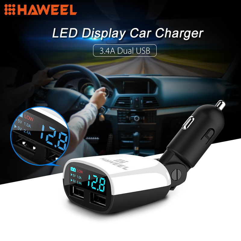 HAWEEL 3.4A Dual USB Ports LED Display Swing Head Design Car Charger for Smartphone / Tablet PC