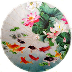 ФОТО Free shipping fish and lotus oiled paper umbrella dia 84cm chinese handmade waterproof sunshade dance decoration umbrella