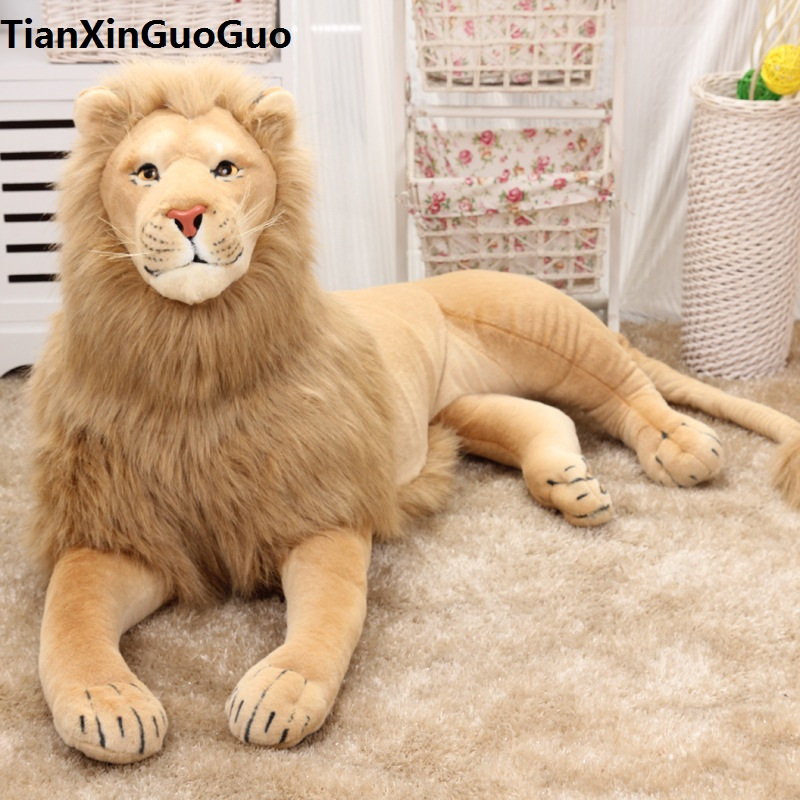 stuffed toy huge 130cm prone lion plush toy simulation lion home decoration birthday gift w2967 gift n home