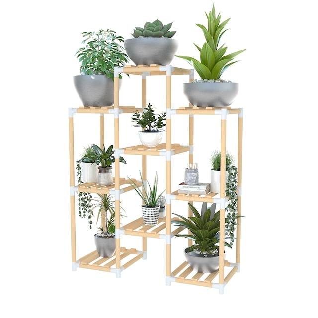 Wooden Flower Stands Multi Tier Plants Garden Storage Rack Pots Organizer Holder Customizable Display Shelves For Indoor Decor