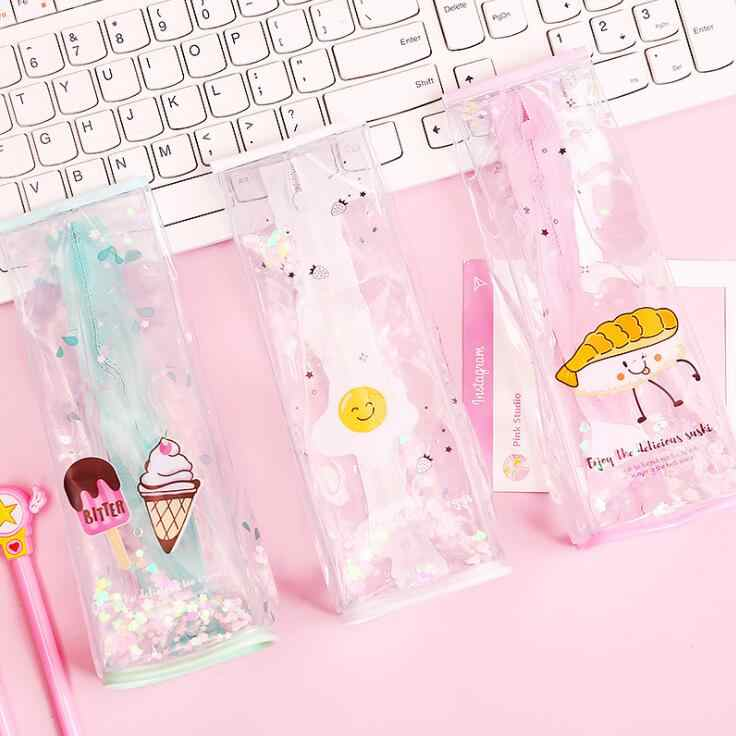 1PC Kawaii Bling Bling Oil Sand Milk Cup Clear Pencil Bag Cartoon School Pen Case Supplies Pencil Box Pencils Pouch Stationery