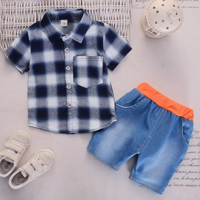 75b8d87db Summer Baby Boy Clothes Sets Newborn Baby plaid shirt Tops +Shorts jeans  2PCS Outfit Tracksuit Toddler Kids boys Clothing Set
