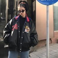 Harajuku style embroidery PU leather women's coat casual retro BF wind Bat long sleeve thread lapel motorcycle leather jacket