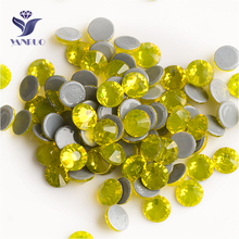 YANRUO 2058HF SS20 Citrine 1440Pcs Hotfix Crystals Strass Flat Back DIY Iron On Hot Fix Rhinestones For Jewelry Making yanruo 2058hf ss20 hyacinth 1440pcs glass strass flat back stones and crystals hot fix rhinestones for shoes accessories
