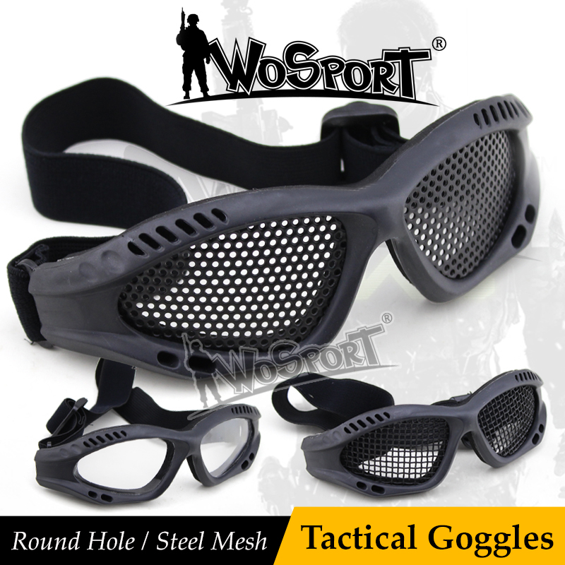 WOSPORT Tactical Goggle Outdoor Eye Protective With Metal Steel Mesh for CS War Game Airsoft Paintball Safety Durable Eyewear