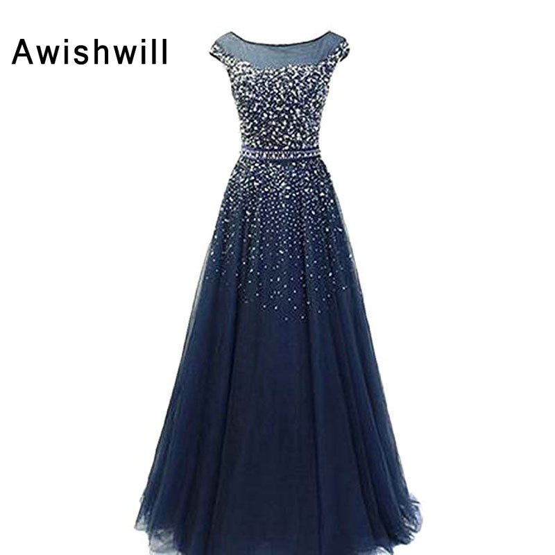 Custom Made Navy Blue Formal Party Dress Shiny Beads Sequin Tulle Floor Length Cap Sleeve Elegant