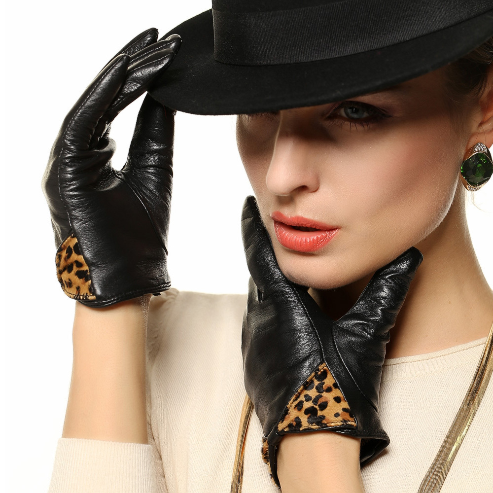 Ladies leather gloves xs - Women Leather Gloves Fashion Leopard Wrist Bowknot Genuine Lambskin Glove Winter Solid Warm Driving For Lady