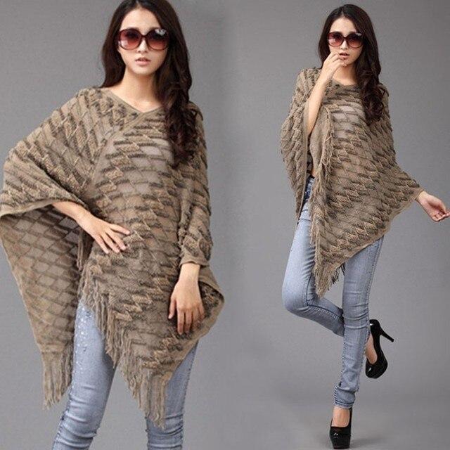 Moda mujeres Batwing manga del suéter de la borla franja dobladillo ...