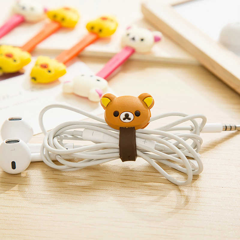 1 pcs Cute cat  bear rabbit Cartoon Press buckle bobbin winder ear mechanism kawaii storage line multifunction receive Bag clip