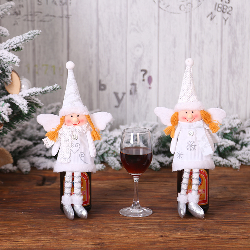 2020 Angel Gril Doll Champagne Wine Bottle Covers For Wedding Birthday Party Christmas Decoration For Home Dinner Table