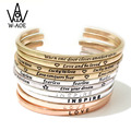 2017 New Fashion Jewelry Silver Plated Simple Cuff Bracelets & Bangles For Women Punk Letters Opening Bangles Party Gift