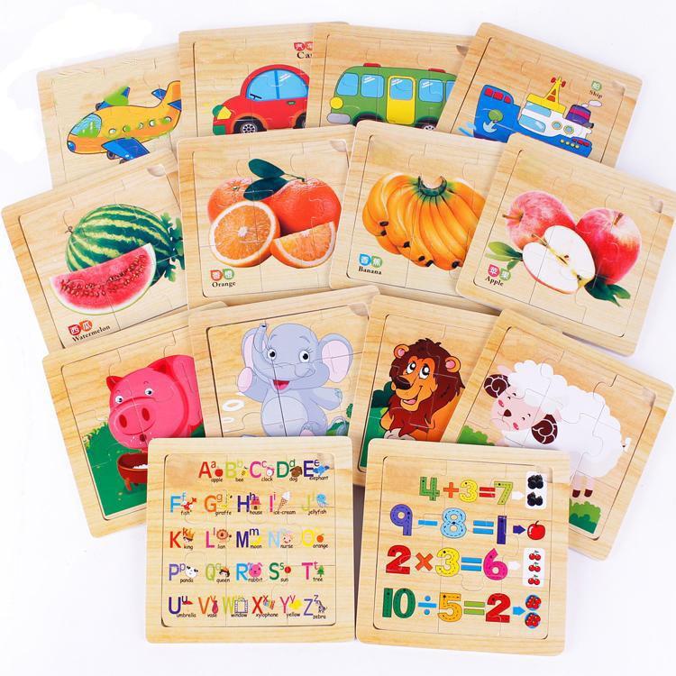 BOHS Educational Toys Wood Alphabet Number Animal Fruit Sheep Bus Vehicles Puzzle Birthday Gift DIY 172 Early Learning