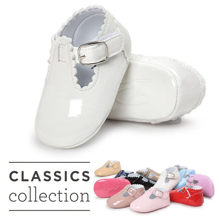 New Romirus Pu Leather Infant Toddler Baby Shoes Round Toe T-bar First Walker Ballet Dress Princess Soft Soled Shoes