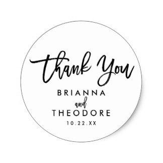 3 8cm Chic Hand Lettered Wedding Thank You Favor Label Clic Round Sticker