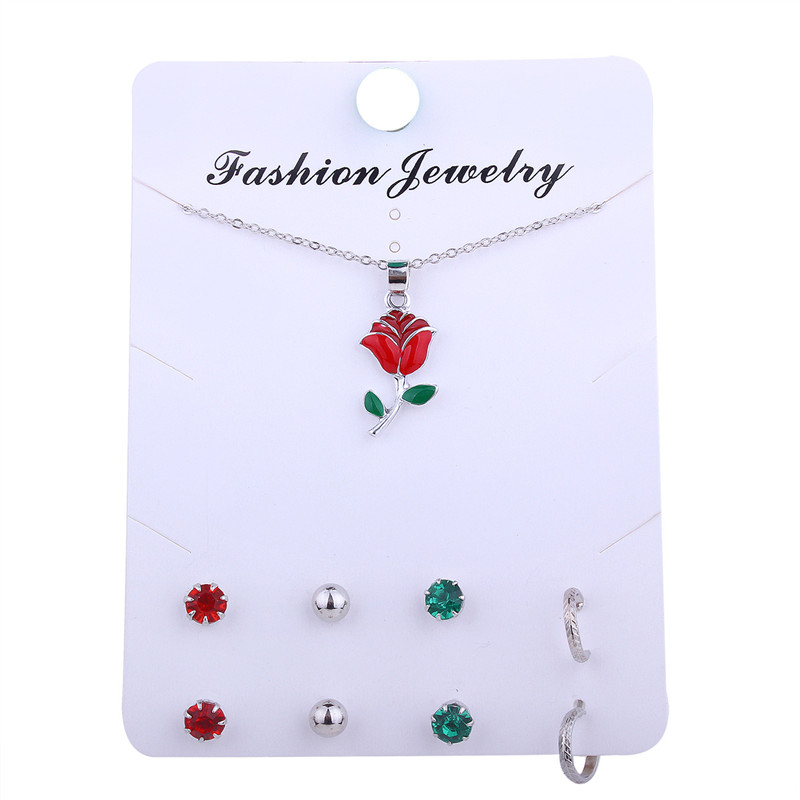 Cute Flower Crystal Jewelry Sets for Women Wedding Party 1pcs necklace + 4Pairs Earrings Costume African Beads Jewelry Sets Gift