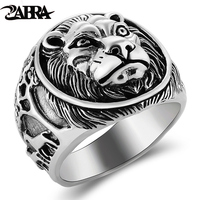 ZABRA 100% Real Solid 925 Silver Ring Male Lion Ring Vintage Steampunk Retro Biker Mens Sterling Silver Jewelry Anel Masculino