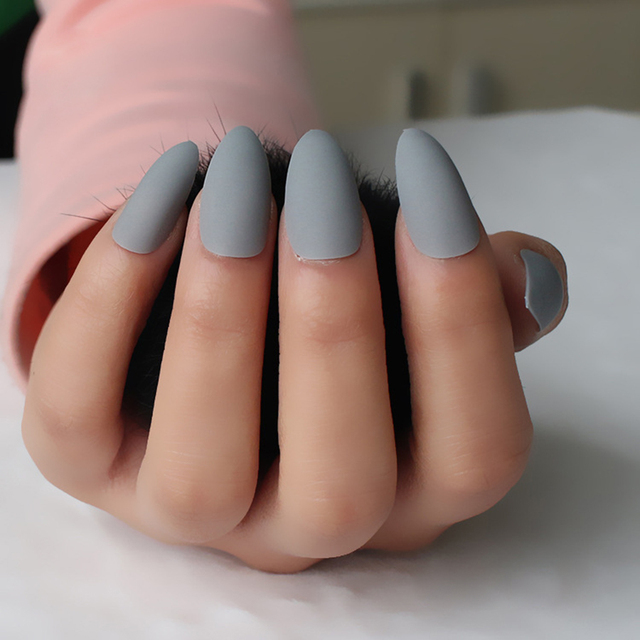 24pcs/set Light Grey Almond Fake Nails Art Matte Design Tips Lady ...