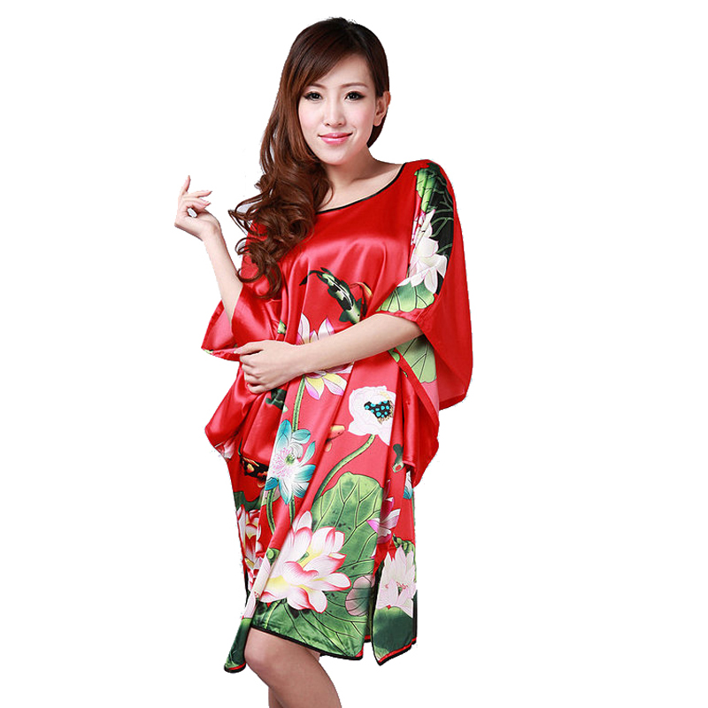 New Arrival Red Female Silk Rayon Nightgown Womens Summer Lounge Robe Dress Home Wear Bath Gown Flower Plus Size 6XL S0104
