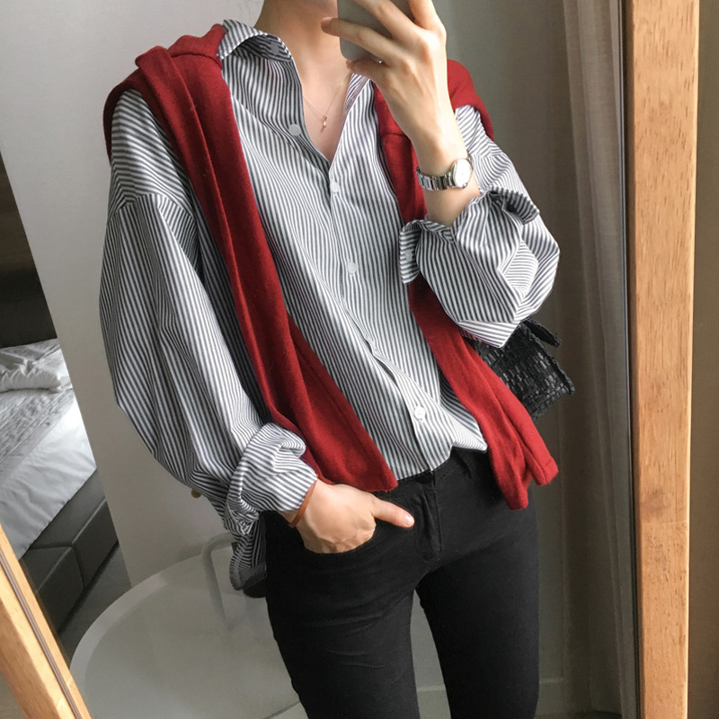 Office Ladies Striped Women Blouses V-neck Full Sleeve Women Blouses And Tops Loose Women's Shirts Blusas Mujer De Moda 2019