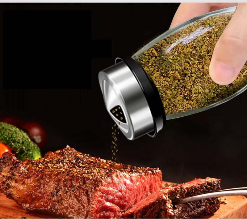 Acier Inoxydable Spice Bouteille Salière Poivrière Sel Poivre Assaisonnement Condiment Boîte Barbecue