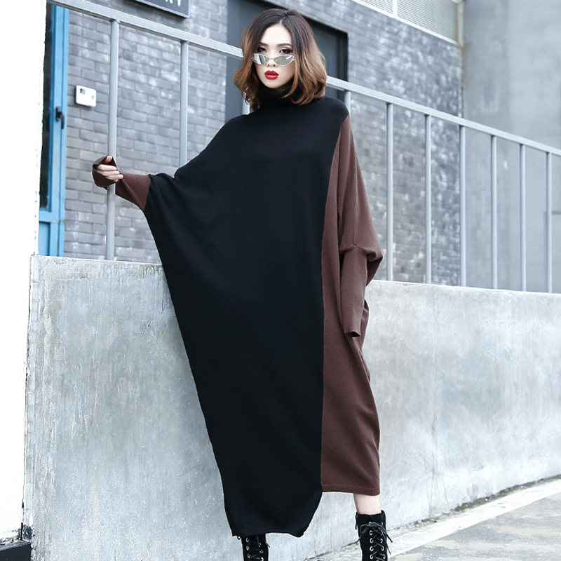 souris Robe En 2018 Manches Rue Taille black Contraste Femmes Chandail Gray Grande Nouveau Lq556 Coffee Col Couleur Lâche Hiver Chauve Roulé Black Automne Femelle Tricot Aj4R5q3L