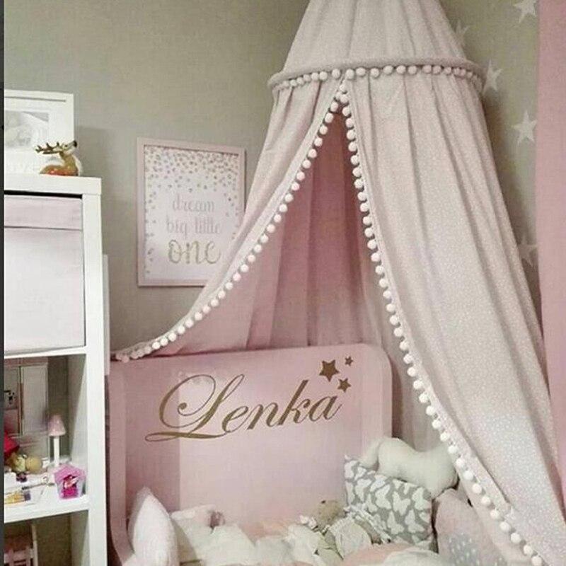 Детская кровать шторы хлопок детская комната украшения сетчатый навес детская палатка хлопок висел купол москитная сетка реквизит для фот...