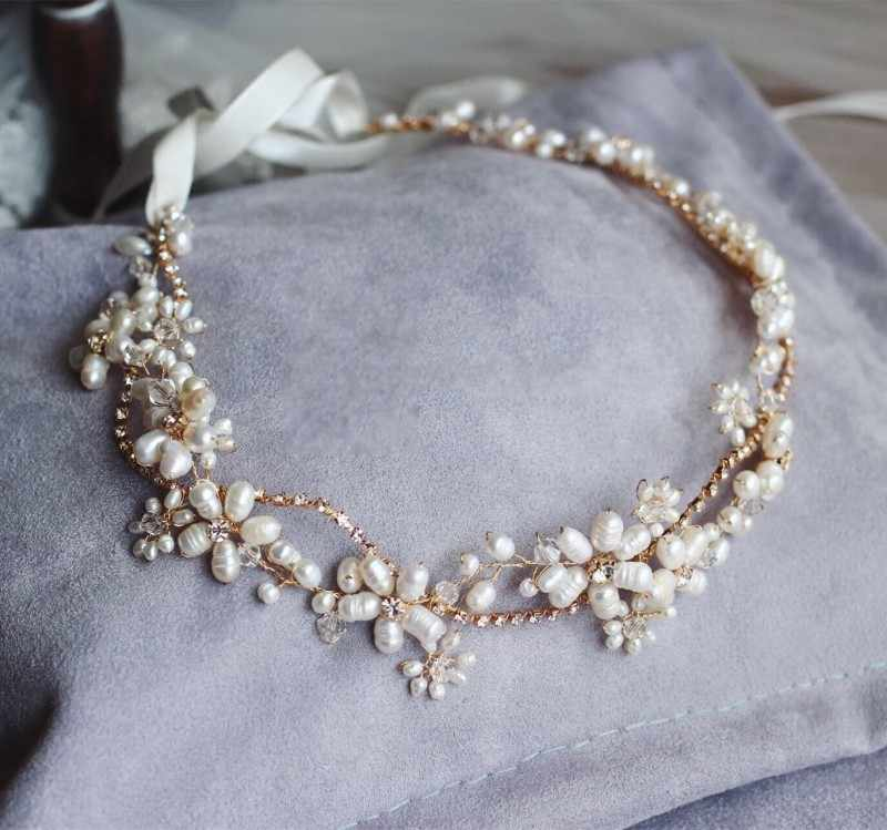 Stunning  Freshwater Pearls Headband Bridal Hair Vine Jewelry Gold Wedding Headwear Hair Accessories Rhinestone Women Headwear