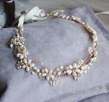 Diadema de perlas de agua dulce para mujer, enredadera para el cabello nupcial, joyería, tocado de boda dorado, accesorios para el cabello, tocados de diamantes de imitación para mujer