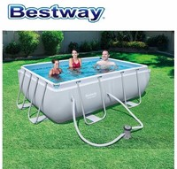 282x196x84cm Bestway 56629 Power Steel Rectangular Frame Pool With A Filter Outdoors Above Ground Frame Pool For Whole Family